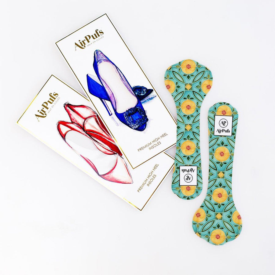 Pair of 3/4 Yellow and Turquoise Peranakan Tile Print Bridal Shoe Insoles for High Heels with flat packaging- Airpufs