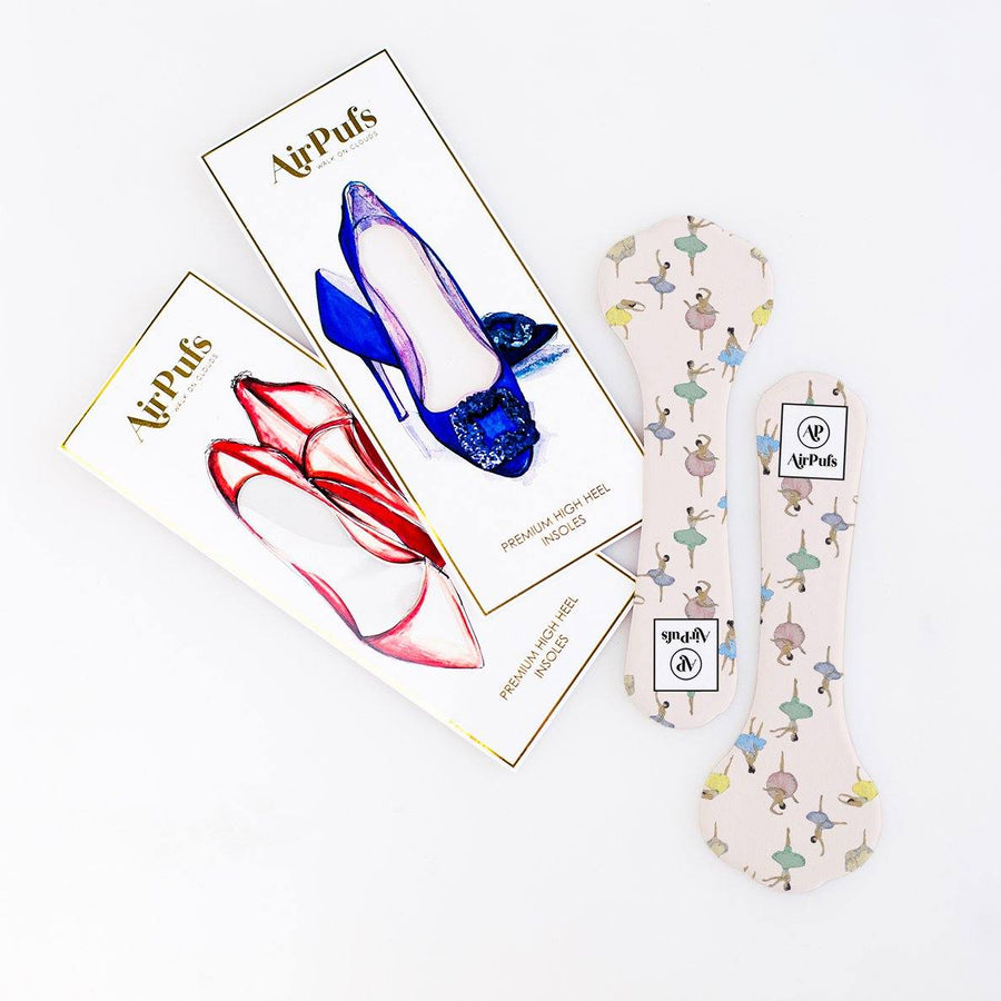 Pair of 3/4 Pink Sugar Plum Fairies Dance Print Bridal Shoe Insoles for High Heels with flat packaging- Airpufs