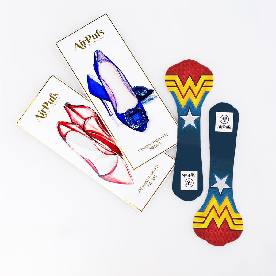 Pair of 3/4 DC Wonder Woman Logo Print Shoe Insoles for High Heels with flat packaging- Airpufs