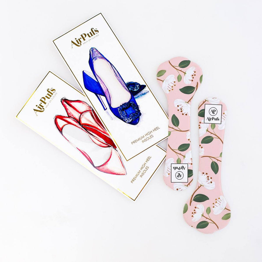Pair of 3/4 Pink and White Peony Blossom Print Bridal Shoe Insoles for High Heels with flat packaging- Airpufs