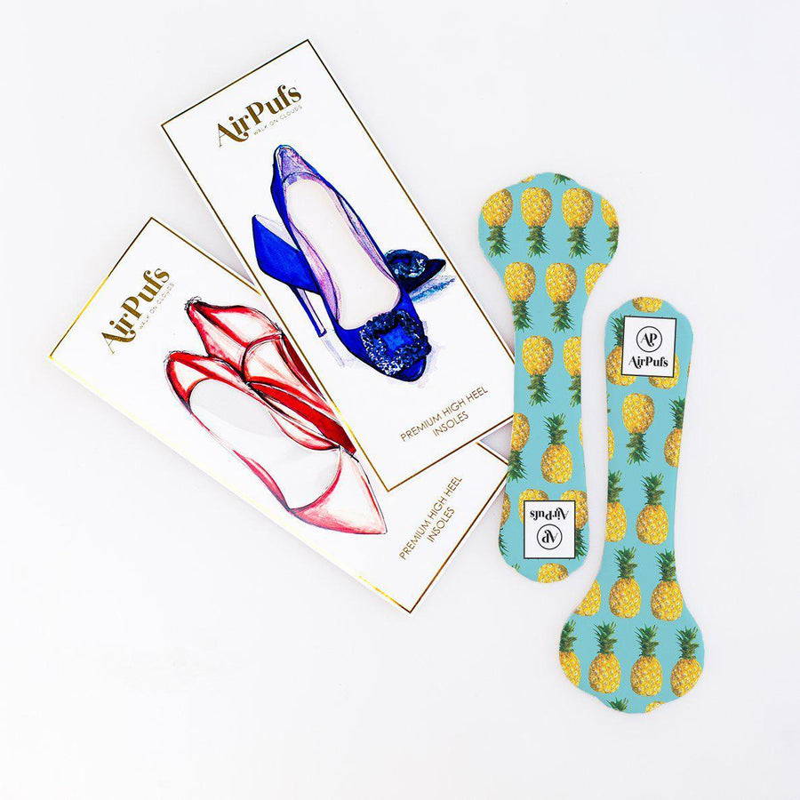 Pair of 3/4 Yellow Pineapple Punch Print Shoe Insoles for High Heels with flat packaging- Airpufs
