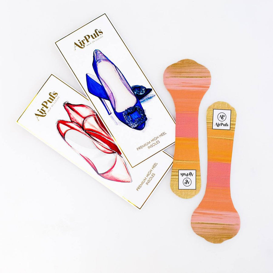 LA Sunset Orange and Pink Print Shoe Insoles for High Heels and Flats- Airpufs
