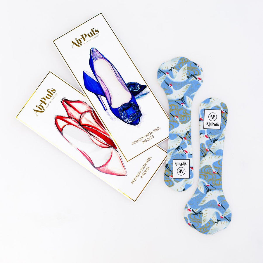 Pair of 3/4 White Cranes on Blue Print Shoe Insoles for High Heels with flat packaging- Airpufs