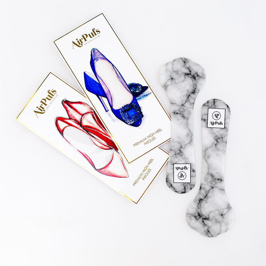 High Heel Insoles- Shoe Inserts- Airpufs-Italian Marble
