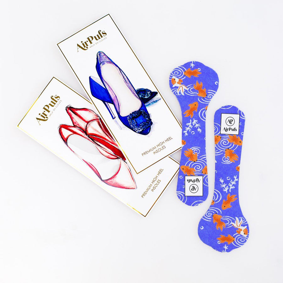 Pair of 3/4 Japanese Goldfish Pond Print Shoe Insoles for High Heels with flat packaging- Airpufs