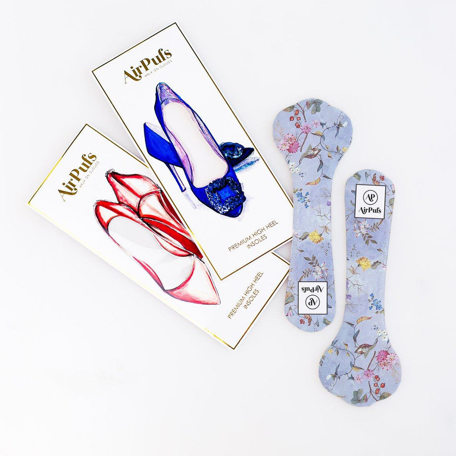 Pair of 3/4 Faerie Forest Blue Bridal Shoe Insoles for High Heels with flat packaging- Airpufs
