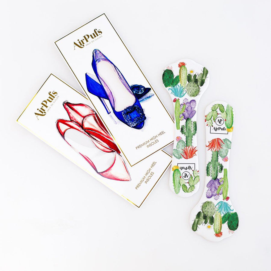 Pair of 3/4 Sweetpea's Wedding Cactus Print Bridal Shoe Insoles for High Heels with flat packaging- Airpufs
