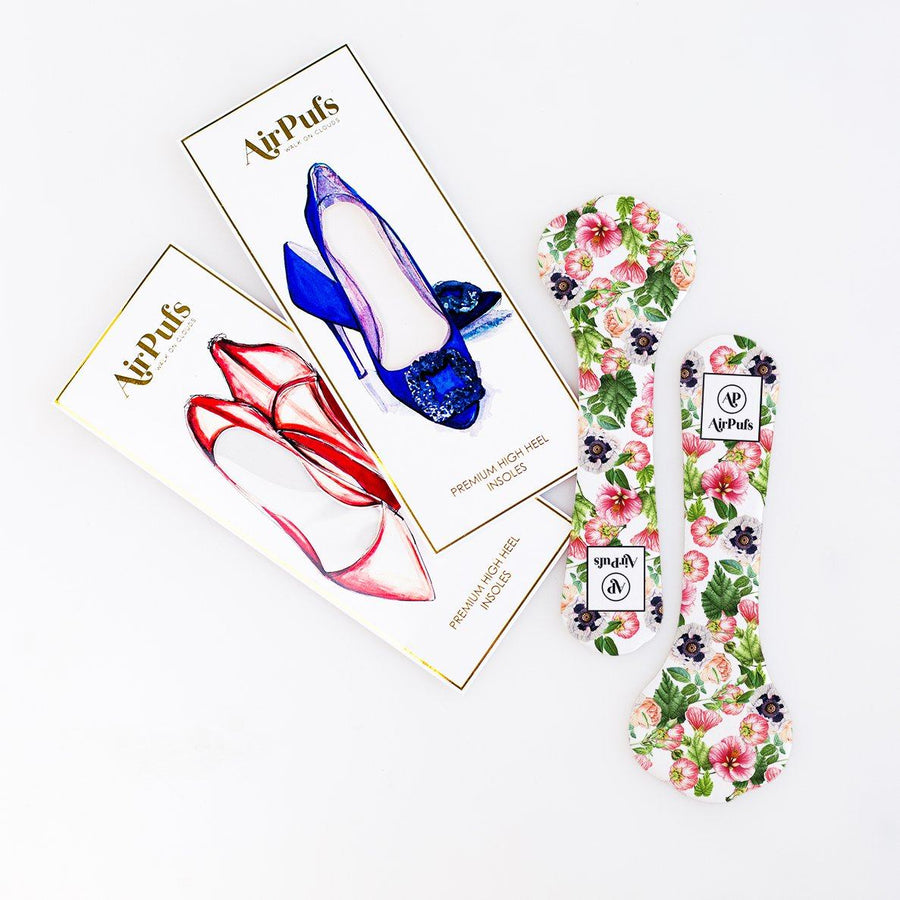 Pair of 3/4 Blossom Print Bridal Shoe Insoles for High Heels with flat packaging- Airpufs