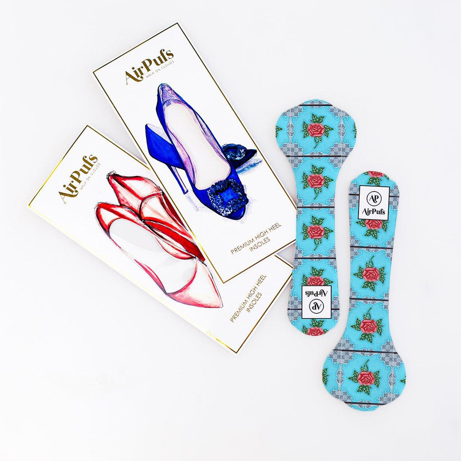 Pair of 3/4 Blue and Pink Rose Singapore Peranakan Tile Print Bridal Shoe Insoles for High Heels with flat packaging- Airpufs