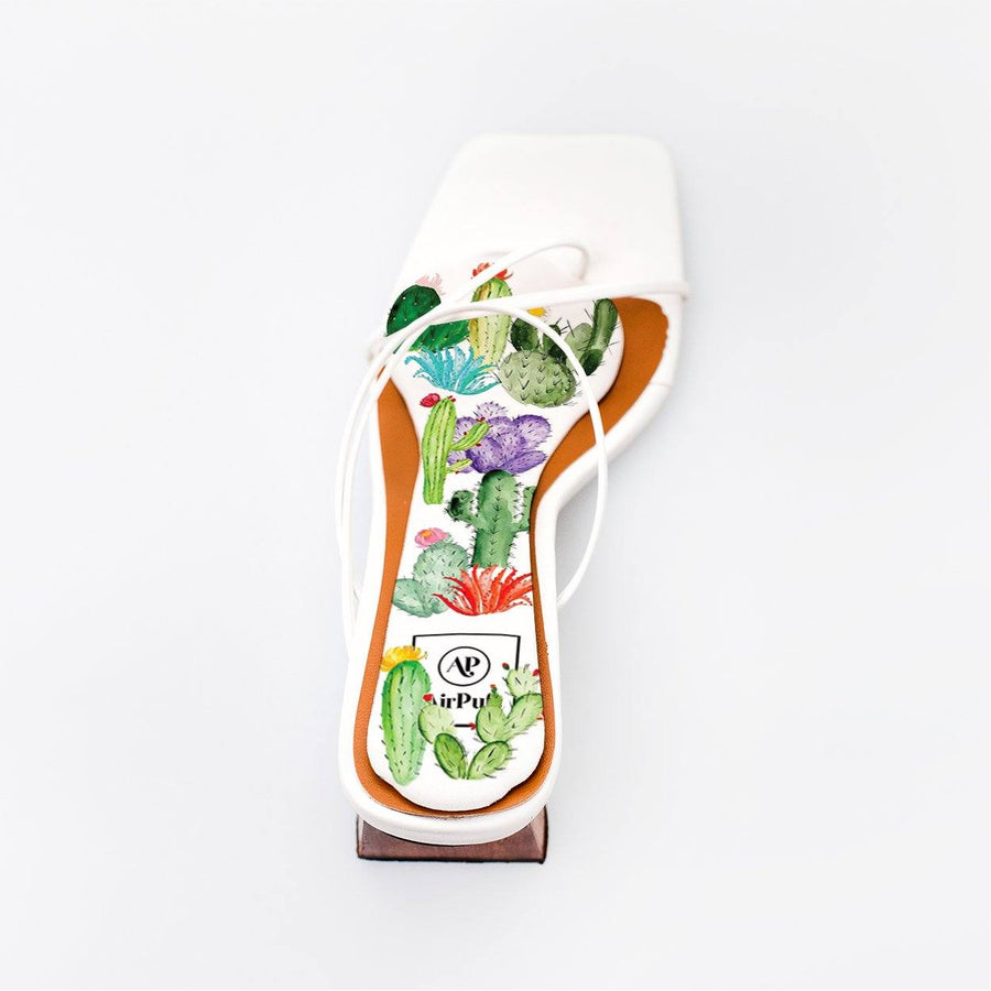 Sweetpea Wedding Cactus Print Bridal Insole in single White Refina Pyo Strappy High Heels- Airpufs