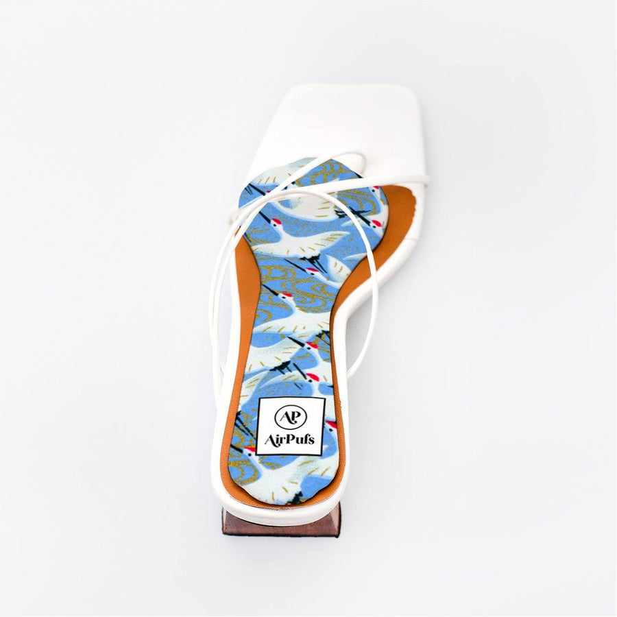 Japanese White Cranes Printed Insole in single White Refina Pyo Strappy High Heels- Airpufs