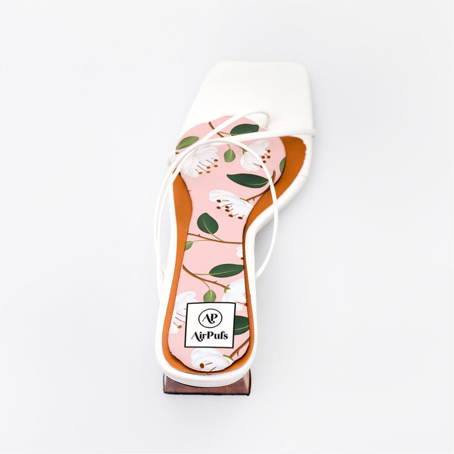 Pink and White Peonies Bridal Insole in single White Refina Pyo Strappy High Heels- Airpufs