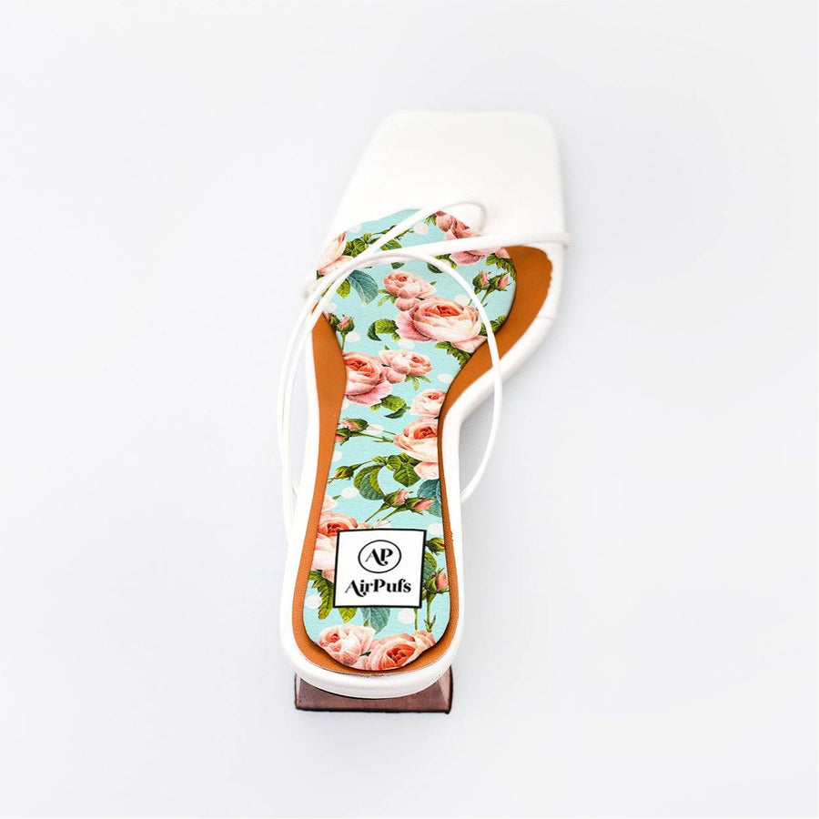 Something Blue Blush Rose Bouquet Bridal Insole in single White Refina Pyo Strappy High Heels- Airpufs
