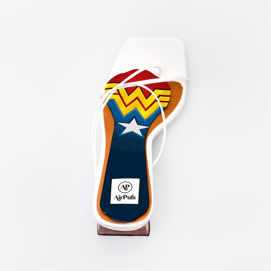Wonder Woman DC Print High Heels Insole in single White Refina Pyo Strappy High Heels- Airpufs
