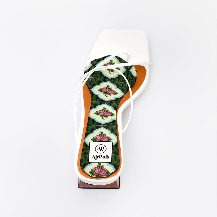 Green and Pink Floral Nyonya Peranakan Tile Print Bridal Insole in single White Refina Pyo Strappy High Heels- Airpufs