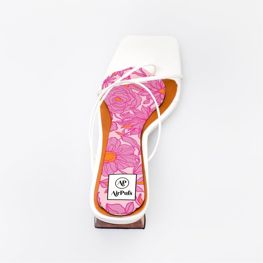 Pink Blossom Bouquet Bridal Insole in single White Refina Pyo Strappy High Heels- Airpufs