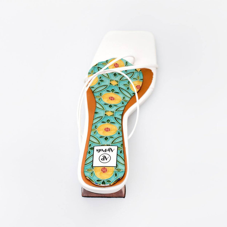 Yellow and Turquoise Nyonya Peranakan Tile Print Bridal Insole in single White Refina Pyo Strappy High Heels- Airpufs