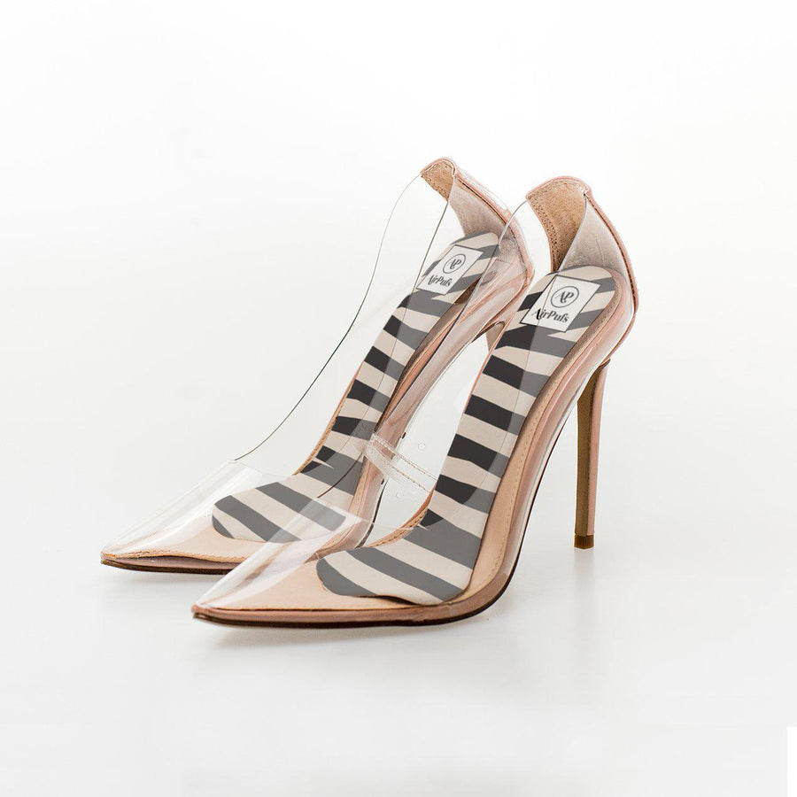 lack and White Audrey Stripes Print High Heel Insoles in Steven Madden Perspex Shoes - Airpufs