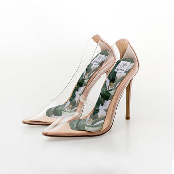 Banana Tree Martinique Print High Heel Insoles in Steve Madden Perspex Shoes - Airpufs