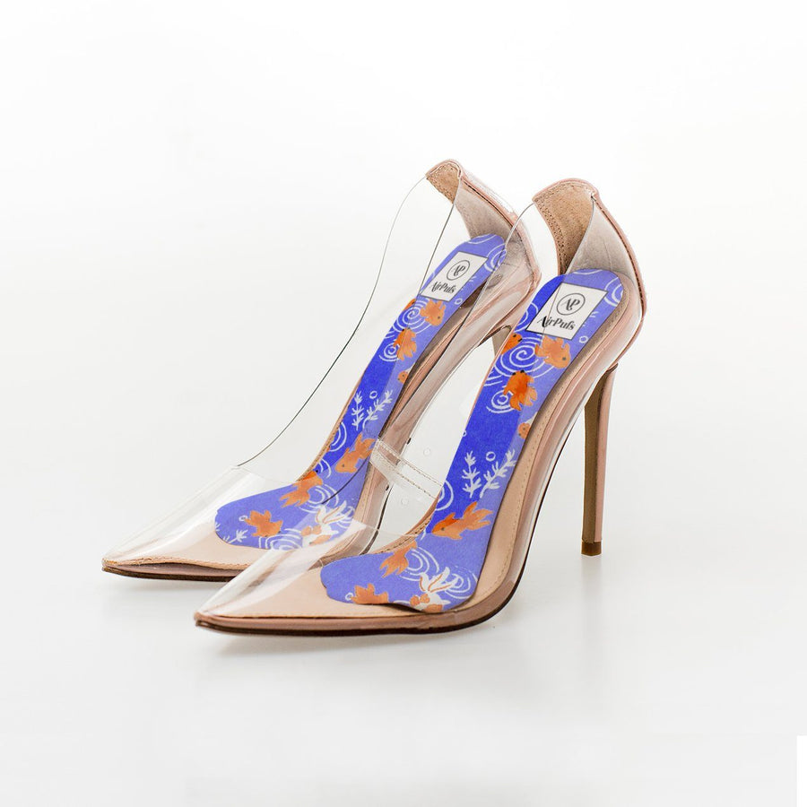 Japanese Goldfish Pond Print High Heel Insoles in Steven Madden Perspex Shoes - Airpufs