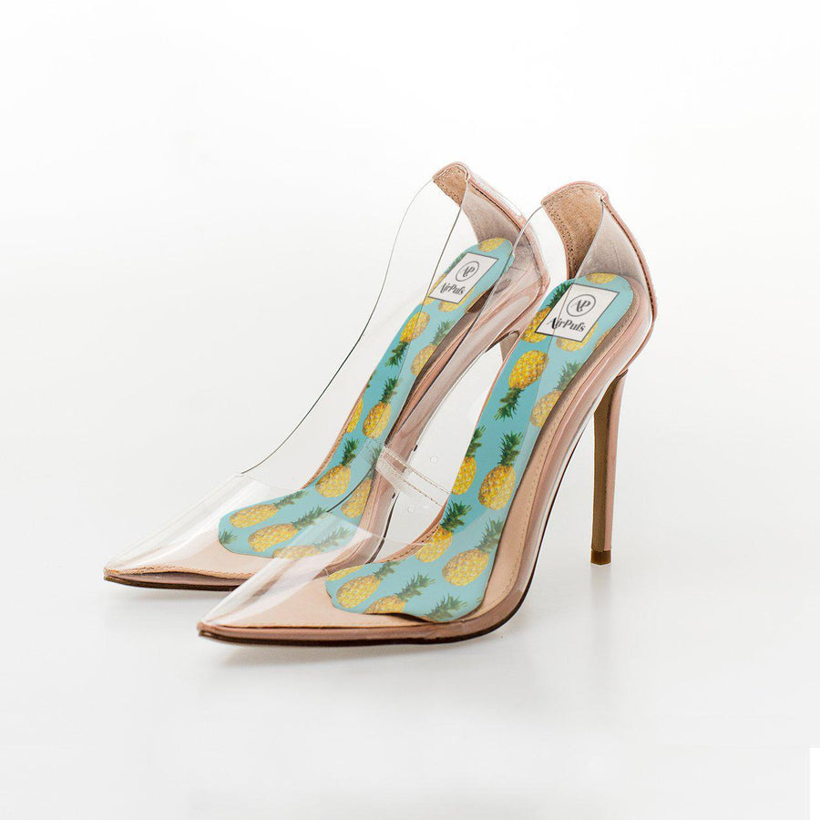Pineapple Tropical Turquoise Print High Heel Insoles in Steve Madden Perspex Shoes - Airpufs