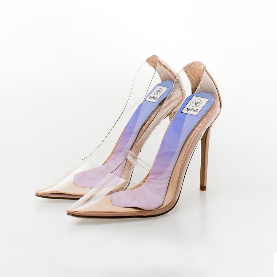 Pantone Colours Rose Quartz Serenity Blue Print High Heel Insoles in Steve Madden Perspex Shoes - Airpufs