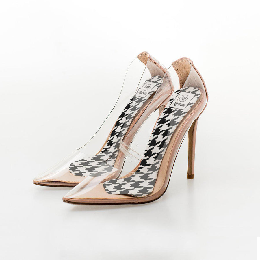 Black and White Houndstooth Print High Heel Insoles in Steven Madden Perspex Shoes - Airpufs