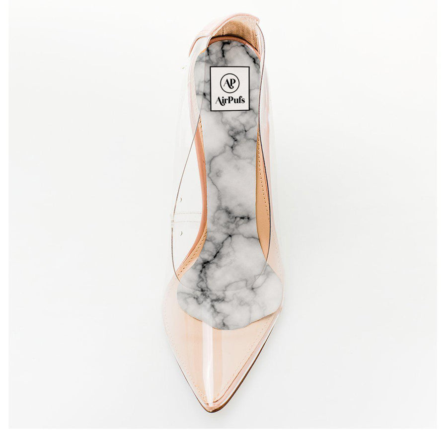 Italian Marble Print Foam Insole in single Steven Madden Perspex High Heels- Airpufs