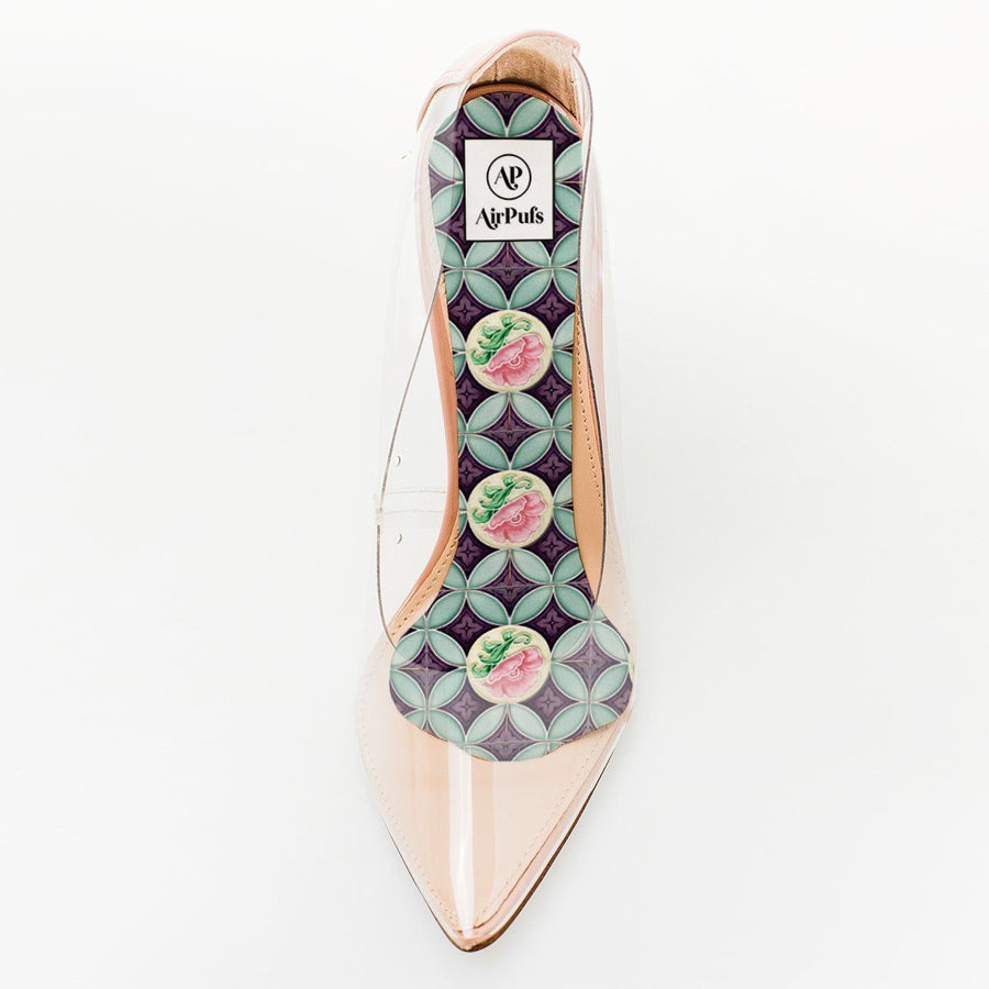 Purple and Pink Floral Singapore Peranakan Tile Print Foam Insole in single Steven Madden Perspex High Heels- Airpufs