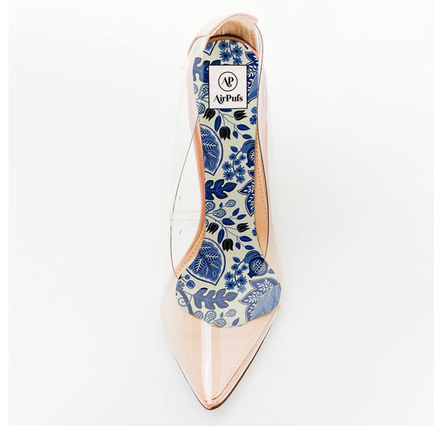 Blue Chinoiserie Porcelain Foam Shoe Insert in single front facing Steve Madden Perspex High Heels- Airpufs