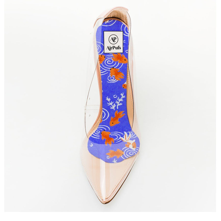 Goldfish in Blue Pond Japanese Print Foam Insole in single Steven Madden Perspex High Heels- Airpufs
