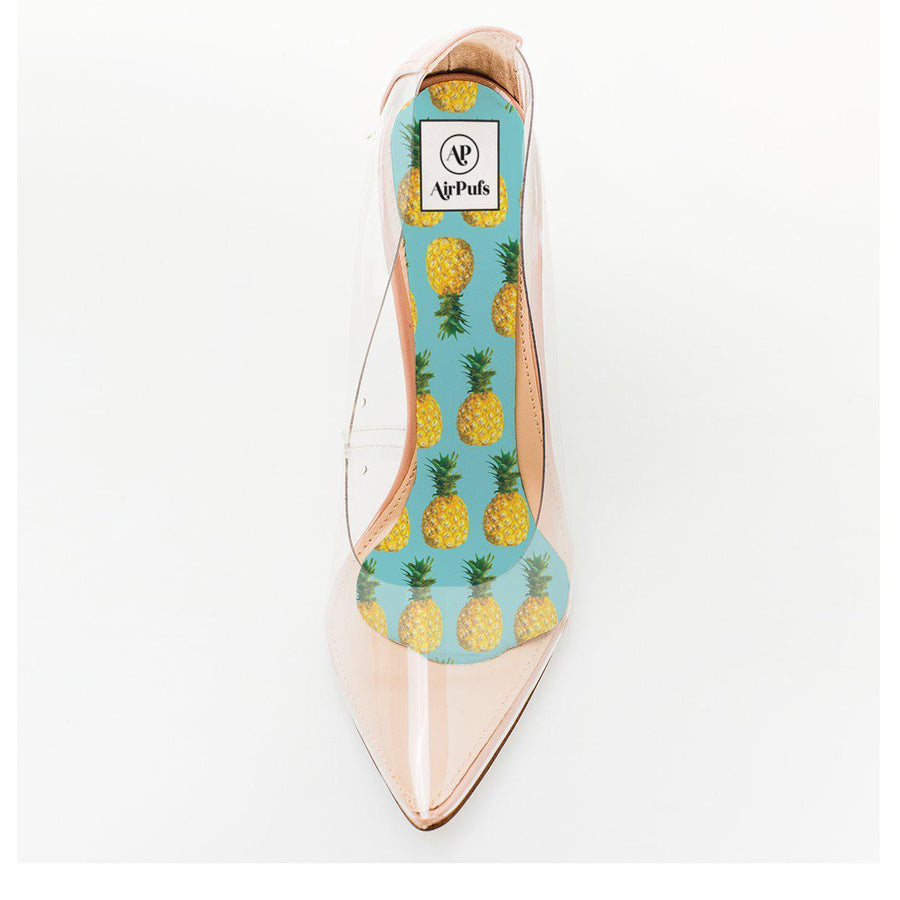 Pineapple Punch Tropical Print Foam Insole in single Steven Madden Transparent High Heels- Airpufs
