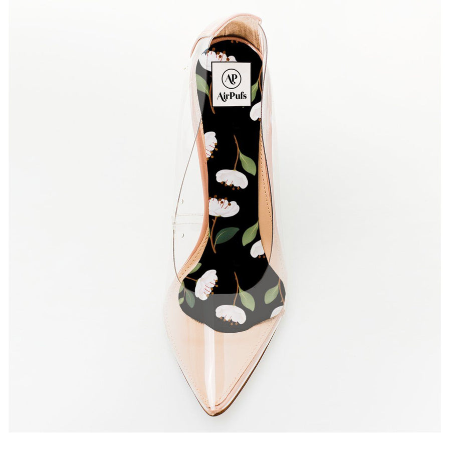 Dark Peonies Print Foam Insole in single Steve Madden Perspex High Heels- Airpufs