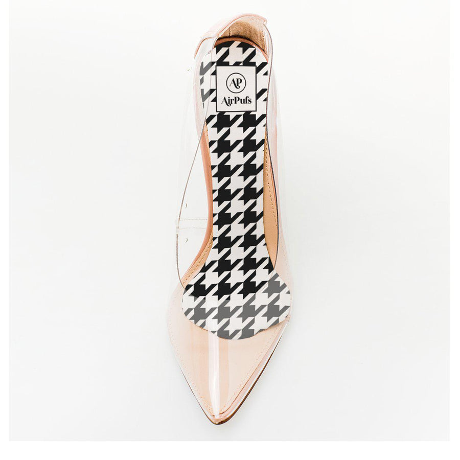 Black and White Houndstooth Checks Foam Shoe Insert in single front facing Steve Madden Perspex High Heels- Airpufs