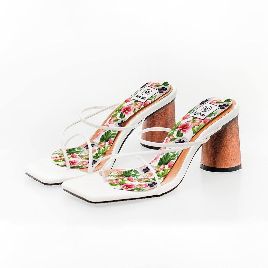 Blossom Flower Print High Heel Insoles in White Rejina Pyo Strap Heels- Airpufs