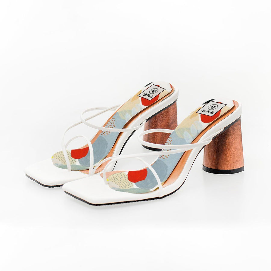 Desert Sunrise abstract paintbrush print High Heel Insoles in White Rejina Pyo Strap Heels- Airpufs