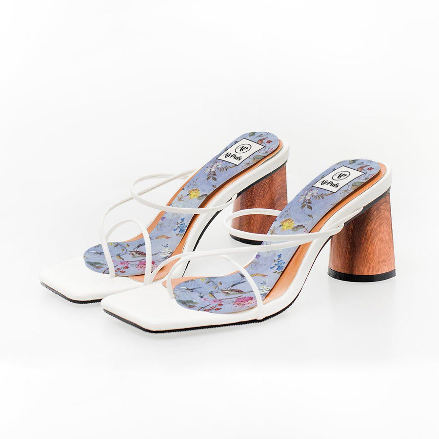 Faerie Forest Blue Woodland Print High Heel Insoles in White Rejina Pyo Strap Heels- Airpufs