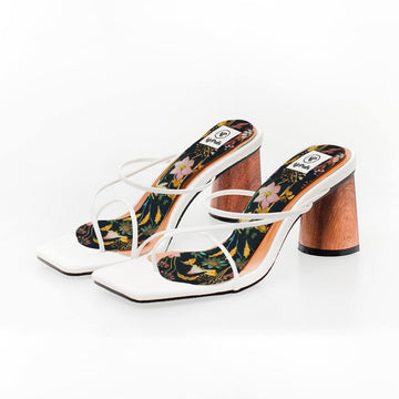 Geisha Robes Blossom Print High Heel Insoles in White Rejina Pyo Strap Heels- Airpufs