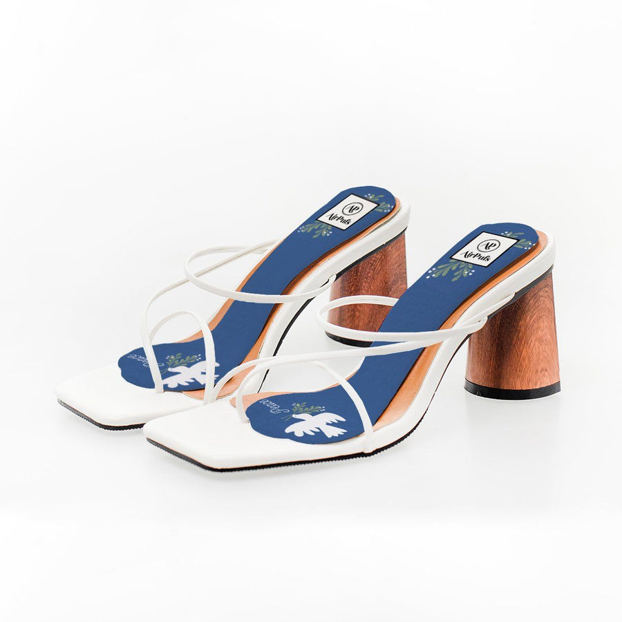 Blue Peace Dove Christmas Print High Heel Insoles in White Rejina Pyo Strap Heels- Airpufs