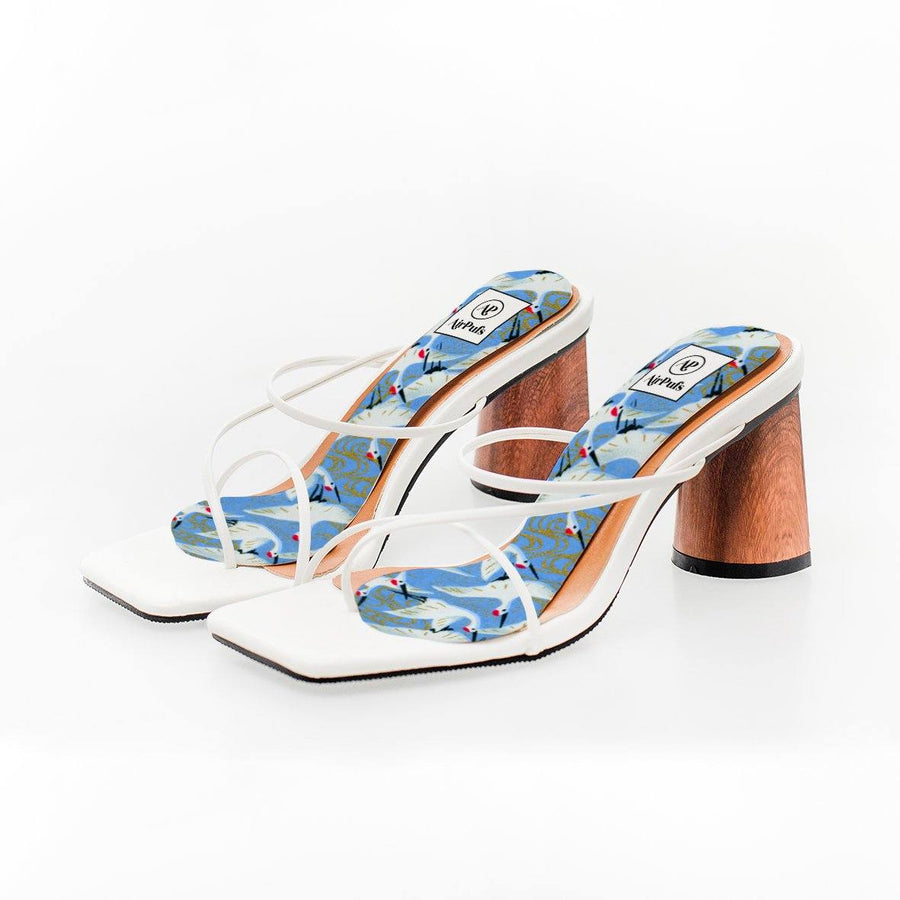 Japanese Crane Print High Heel Insoles in White Rejina Pyo Strap Heels- Airpufs