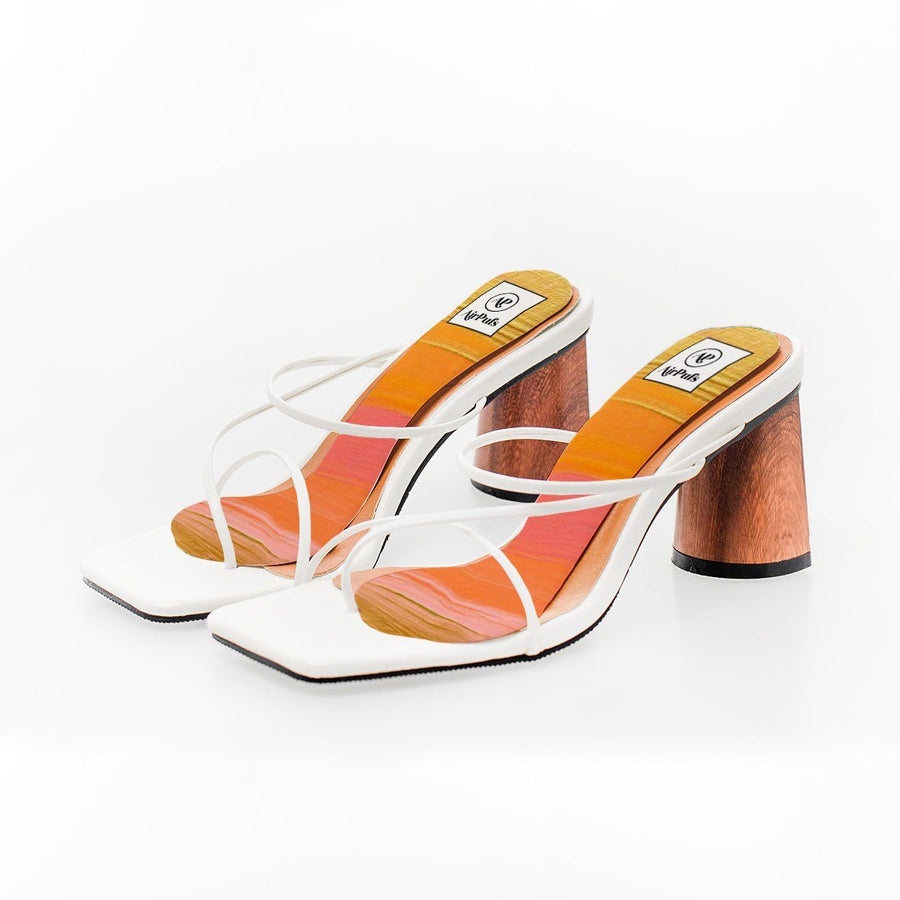 Pink and Orange LA Sunset Print High Heel Insoles in White Rejina Pyo Strap Heels- Airpufs