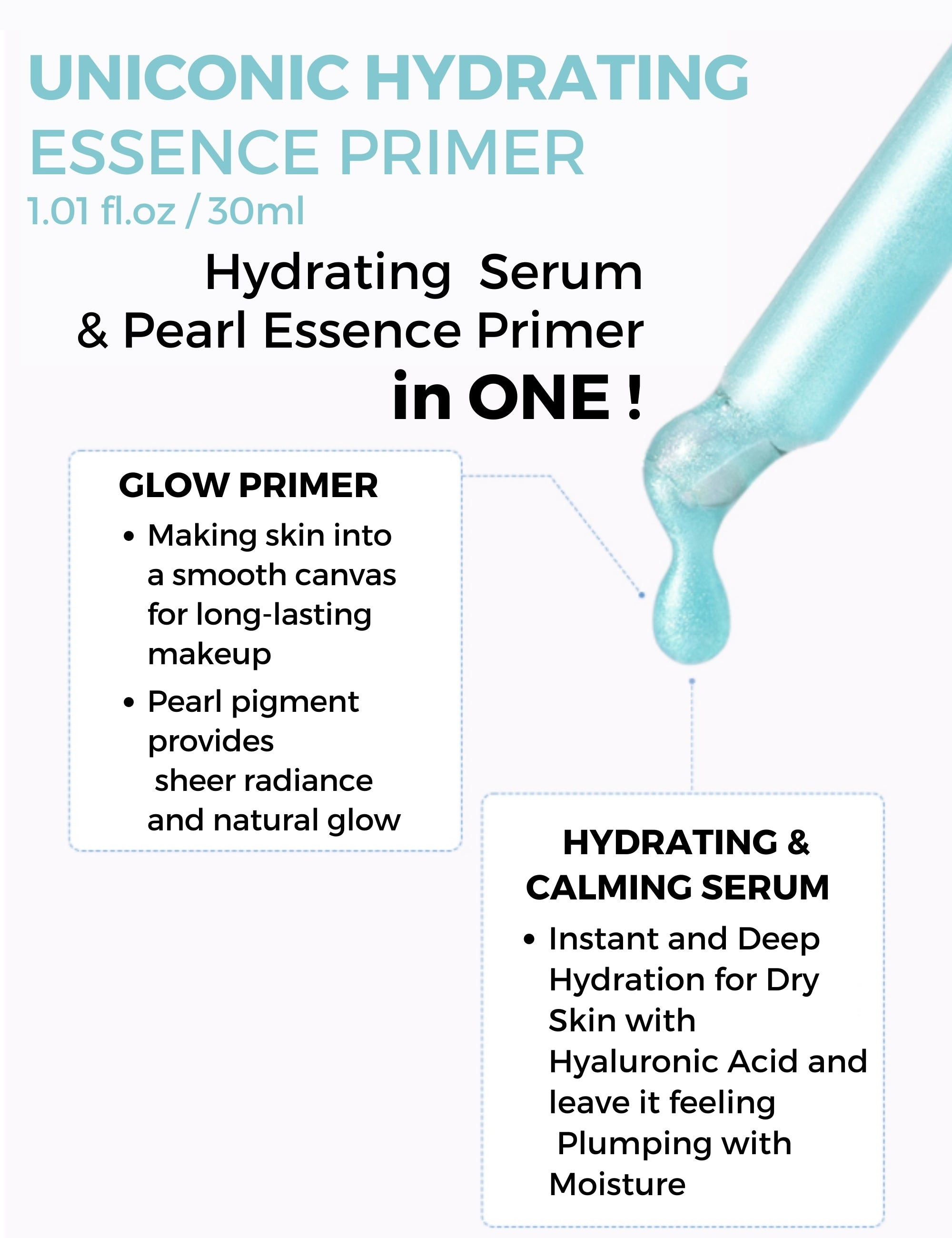 UNICONIC Hydrating Glow Face Serum to Primer for Dry Skin 1.01fl.oz (30ml) - SELF BEAUTY