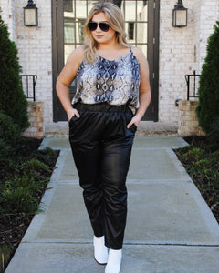 plus size snake print top
