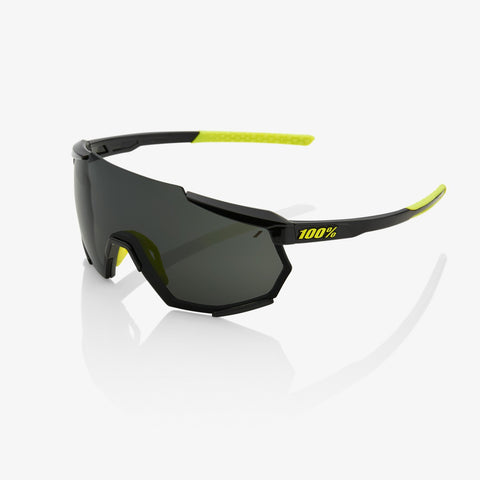 100% RACETRAP - GLOSS BLACK - SMOKE LENS SUNGLASSES