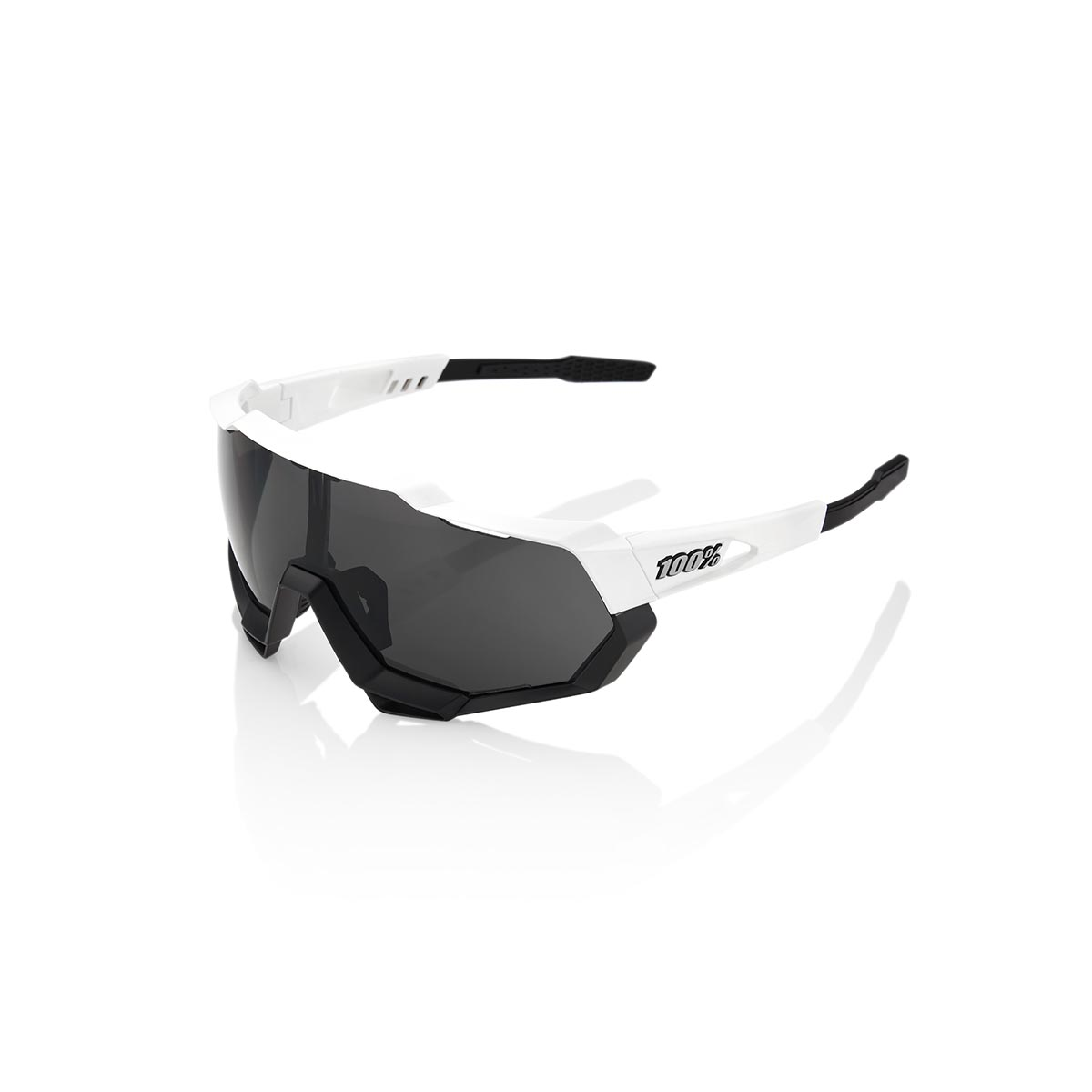 100% SPEEDTRAP - WHITE BLACK - SMOKE LENS SUNGLASSES