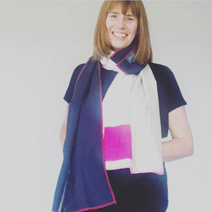 REMADE: PINK, NAVY & DENIM SCARF