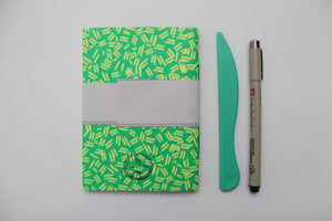 Green Sprinkle Pattern Screen Printed Pocket Notebook with Blank Recycled Paper