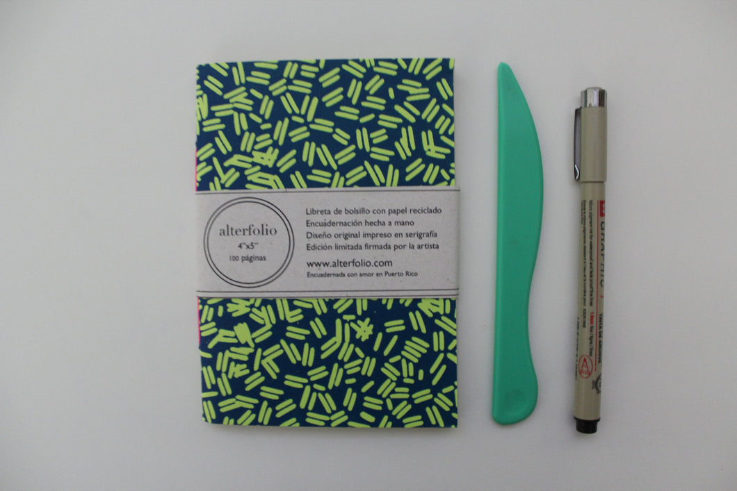 Blue Sprinkle Pattern Screen Printed Pocket Notebook with Blank Recycled Paper