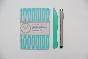 Geometrical Lines Pattern Screen Printed Pocket Notebook with Blank Recycled Paper