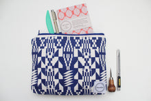 Load image into Gallery viewer, Navy Blue Kente Cloth Inspired Screen Printed Zipper Pouch
